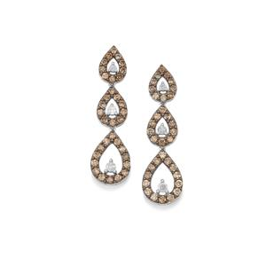 Champagne Diamond Earrings with White Diamond in Sterling Silver 2.50ct