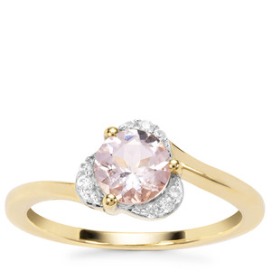 Zambezia Morganite Ring with White Zircon in 9K Gold 0.80cts