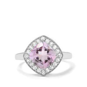 Rose De France Amethyst & White Topaz Sterling Silver Partywear Ring ATGW 2.30cts