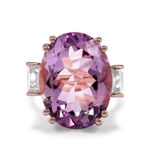 Rose De France Amethyst Ring with White Topaz in Rose Gold Plated Sterling Silver 19.12cts