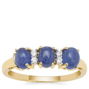 Burmese Blue Sapphire Ring with White Zircon in 9K Gold 1.95cts