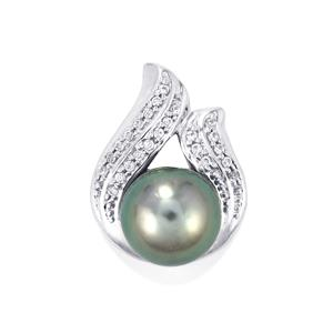 Maruata Cultured Pearl Pendant with White Zircon in 10K White Gold ( 9mm )