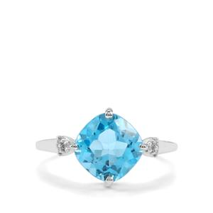 Swiss Blue Topaz & Diamond 9K White Gold Ring ATGW 3.67cts