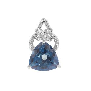 Santa Maria Topaz Pendant with White Zircon in Sterling Silver 4.14cts