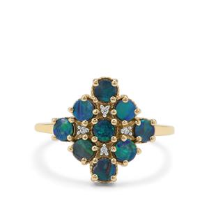 Crystal Opal on Ironstone & White Zircon 9K Gold Ring