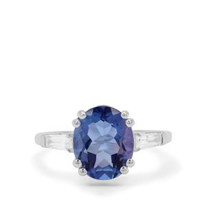 Colour Change Fluorite Ring with White Zircon in Sterling Silver 4.78cts