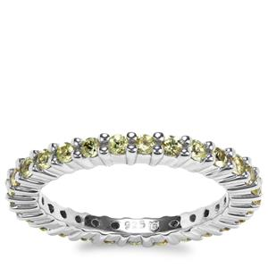 Brazilian Chrysoberyl Eternity Band Ring in Sterling Silver 1.18cts