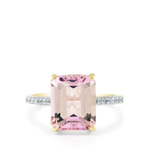 Mawi Kunzite Ring with White Zircon in 9K Gold 5.43cts