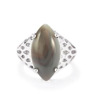 8.00ct Botswana Agate Sterling Silver Ring