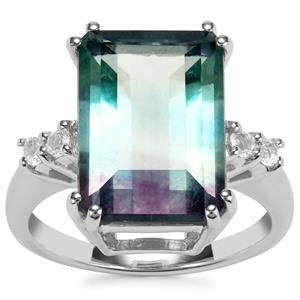 Zebra Fluorite Ring with White Topaz in Sterling Silver 9.17cts