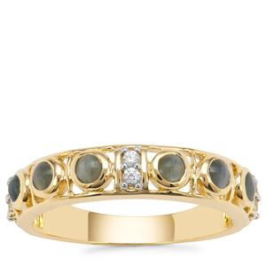 Cats Eye Alexandrite Ring with White Zircon in 9K Gold 0.76ct