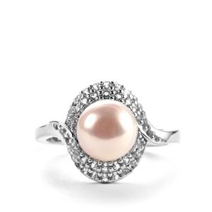 Kaori Cultured Pearl Ring with White Topaz in Sterling Silver (8mm)