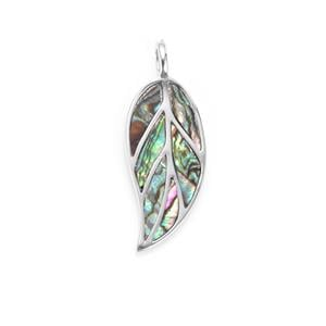 Paua Sterling Silver Leaf Pendant