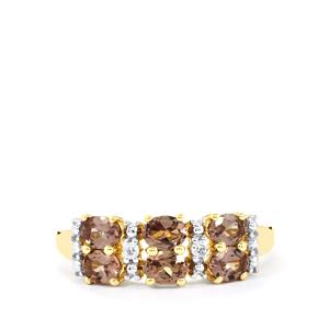 Bekily Color Change Garnet Ring with White Zircon in 10k Gold 1.31cts