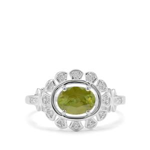 Ambilobe Sphene Ring with White Zircon in Sterling Silver 1.30cts