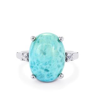 Larimar & White Topaz Sterling Silver Ring ATGW 9.76cts