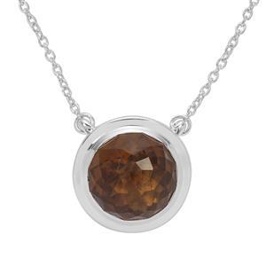 Eden Cut Whisky Quartz Necklace in Britannia Silver 8.05cts