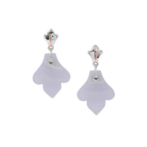 Blue Lace Agate Earrings in Two Tone Gold Plated Sterling Silver 19.23cts