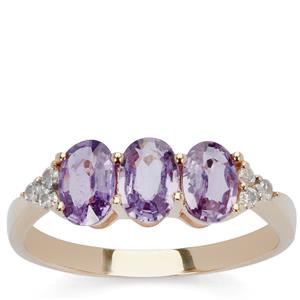Natural Purple Sapphire & White Zircon 9K Gold Ring ATGW 1.67cts