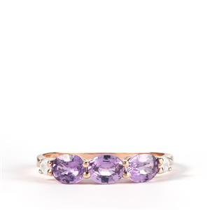 Natural Purple Sapphire Ring with White Zircon in 9K Rose Gold 1.49cts