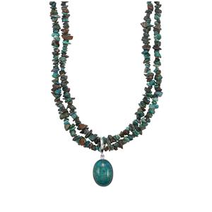 Chrysocolla Nugget Pendant Necklace in Platinum Plated Sterling Silver 187.15cts