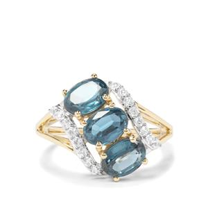 Orissa Kyanite & White Zircon 9K Gold Ring ATGW 3.40cts