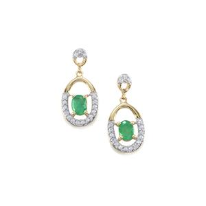 Zambian Emerald Earrings with White Zircon in 10K Gold 0.76ct