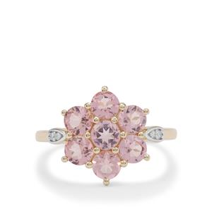 Cherry Blossom™ Morganite Ring with Diamond in 9K Gold 1.55cts