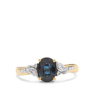 Natural Nigerian Sapphire Ring with Diamond in 18K Gold 1.35cts