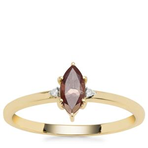 Bekily Colour Change Garnet Ring with White Diamond in 9K Gold 0.45ct