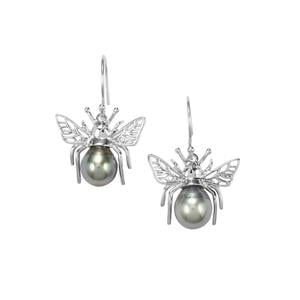 Tahitian Cultured Pearl Sterling Silver Earrings (11 x 9.50mm)