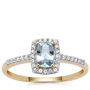 Santa Maria Aquamarine Ring with White Zircon in 9K Gold 0.65ct