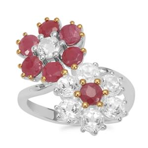 Bharat Ruby Ring with White Topaz in Sterling Silver 5.02cts