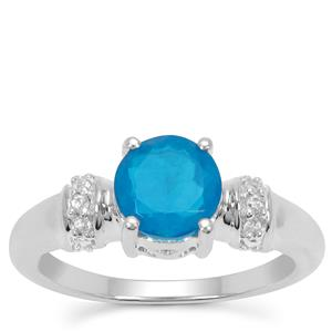 Ethiopian Paraiba Blue Opal Ring with White Zircon in Sterling Silver 0.85ct