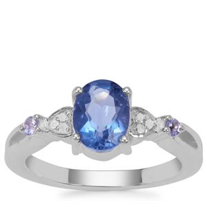 Colour Change Fluorite, Tanzanite Ring with Diamond in Sterling Silver 1.62cts