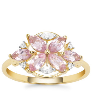Andhra Pradesh Spinel Ring with White Zircon in 9K Gold 1.06cts