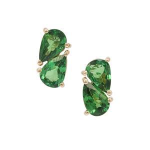 Tsavorite Garnet Earrings in 9K Gold 1.62cts