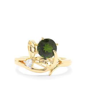 Chrome Diopside Ring with White Zircon in Gold Plated Sterling Silver 1.65cts