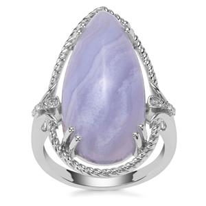 Blue Lace Agate Ring with White Zircon in Sterling Silver 14.23cts