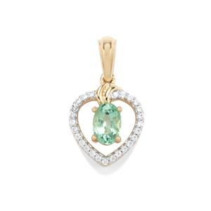 Zambian Emerald Pendant with White Zircon in 10k Gold 0.63ct