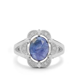 Rose Cut Sapphire Ring with White Zircon in Sterling Silver 3.30cts