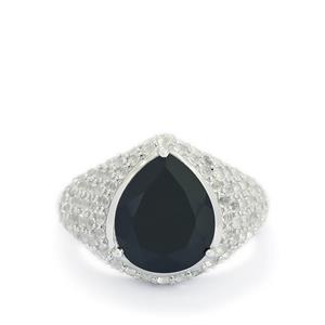 Black Spinel & White Topaz Sterling Silver Ring ATGW 7.74cts