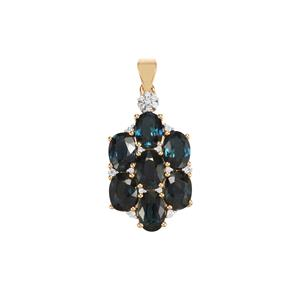 Nigerian Blue Sapphire Pendant with Diamond in 18K Gold 7.58cts