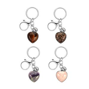 Gem Auras - Heart Shape Gemstone Key Fob - 4 Variations