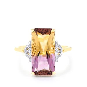 Anahi Ametrine Ring with Diamond in 10K Gold 5.49cts