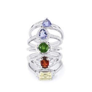3.78ct Exotic Gems Sterling Silver Set of 5 Rings