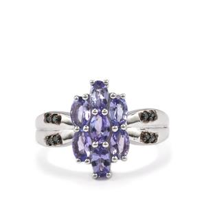 Tanzanite & Blue Diamond Sterling Silver Ring ATGW 1.59cts