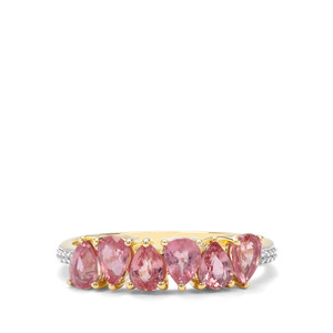 Padparadscha Sapphire & White Zircon 9K Gold Ring ATGW 1.76cts