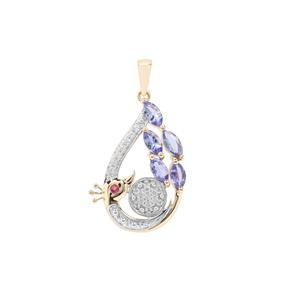 AA Tanzanite, Pink Tourmaline Peacock Pendant with White Zircon in 9K Gold 1.64cts