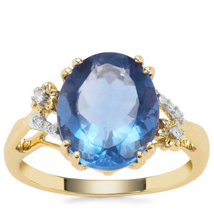 Baiyang Colour Change Fluorite Ring with Diamond in 9K Gold 5.54cts